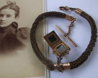 Antique 1870 Victorian Mourning Watch Fob, Rose Gold Filled, with T Bar and Locket with Woven Hair inside, Mori, Amazing Woven Human Hair