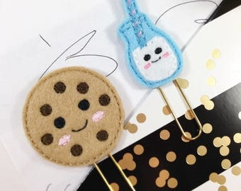 Embroidered Felt Clips, Milk and Cookies Planner Clips, Textbook Markers, Embroidered Paperclips