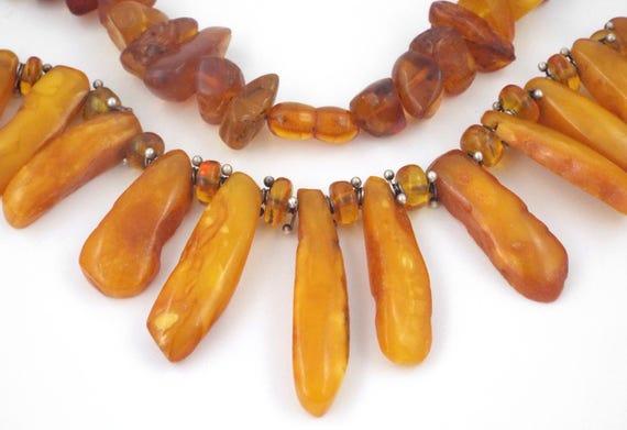 Antique Natural Egg Yolk Butterscotch Baltic Amber Beads
