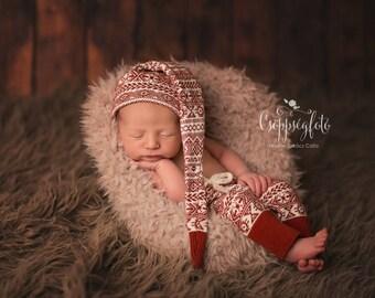 Fair Isle Set, Newborn Terracotta Pants and Hat, Nordic Props, Boys Props, Newborn Props, Baby Newborn Props, Photography Props UK Seller