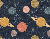 Lewis and Irene To The Moon And Back A160 3 Planets on Midnight, Navy Outer Space Quilt Fabric, Saturn, Dark Blue, Cotton