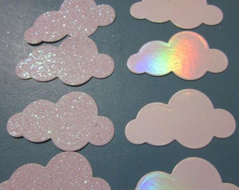 10 white cardstock clouds