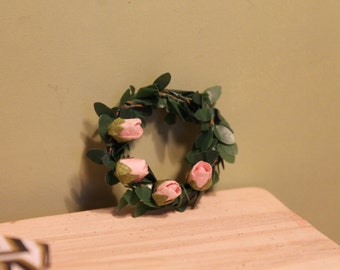Pink Rose Wreath For Dollhouse