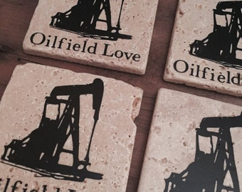 Set of 4 Oilfield Love Coasters, Oilfield Decir, Home Decor, Oilfeild Gift Ideas