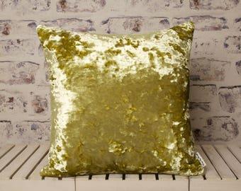 citrine yellow crushed velvet cushion//citrine yellow crushed velvet pillow//yellow velvet//large velvet cushion//large velvet pillow