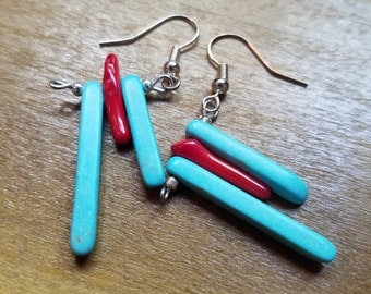 Dangling Bead Earrings in red and turquoise