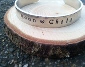 Moon child stamped cuff bracelet