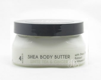 White Tea & Ginger Shea Body Butter Cream for dry skin - Hand Lotion, Body Lotion, Handmade Lotion, Shea Butter, body lotion, hand lotion