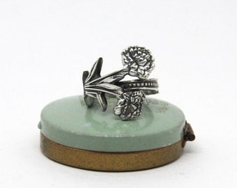 spoon ring,  carnation ring, flower ring