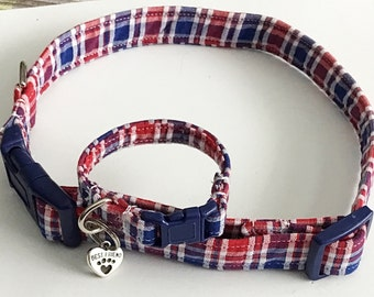 Red, White, & Blue Plaid Collar  with Matching Friendship Charm  Bracelet