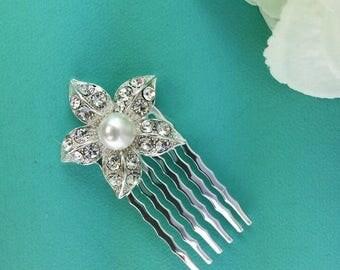 SALE Ends Sunday Small Pearl Bridal Comb, Rhinestone Comb, Bridal Comb Crystal, Wedding Hair Comb, Hair Comb, Wedding Accessory, Bridal Head