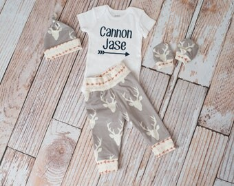 Personalized Baby Deer Antlers/Horns Bodysuit, Hat, Scratch Mittens Set with Grey and Arrows+ arrow Bodysuit