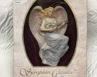 "Seraphim Classics, Lydia, ""Winged Poet"", Roman Inc, Angel Ornament, 1994, Lydia Angel, Seraphim Ornament, Angel with Lute Mandolin, Orig Box"
