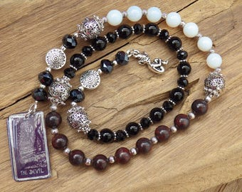 Devil Tarot Pagan Prayer Beads, Witches Ladder, Wiccan Ritual Spell Casting, Witches Rosary, Mala Meditation Beads, Celtic Worry Beads