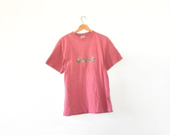 90s EMBROIDERED CANADA TEE // size women's large // 1990s // t shirt // faded // outdoors / national park / forest / sherbet / vtg vintage!