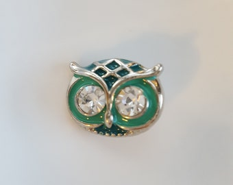 12mm Silver and Green Owl Snap