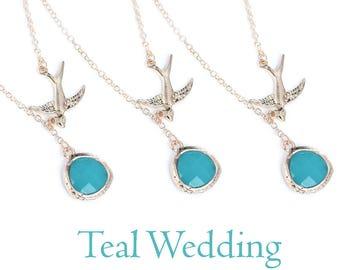 Bridesmaids Necklace Set. 3x Teal Necklaces. Bridesmaids Set. Bridesmaids Gift.