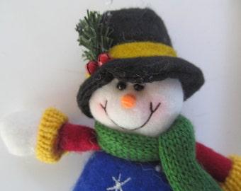 Felt Snowman Ornament - Hanger - decoration - stuffed  Carrot Nose
