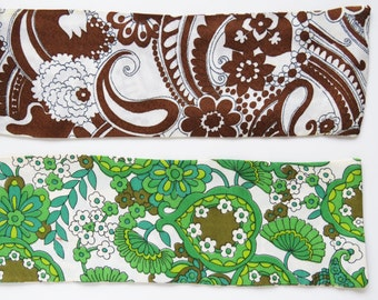 2 x vintage 60s paisley mod scarfs -  green & brown on white background