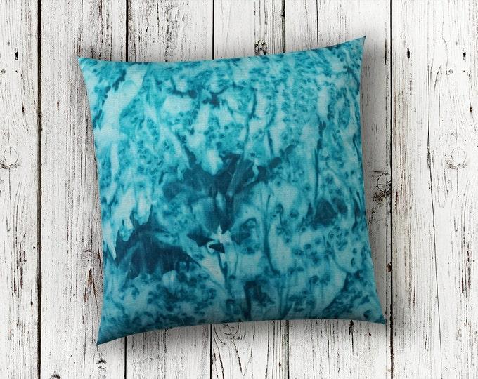 Teal Blue Pillow 18x18-Watercolor Silk Pillow-Beach Decor-Coastal Decor-Bohemian Decor-Christmas Gift-Home Decor Gifts-Watercolor Home Decor