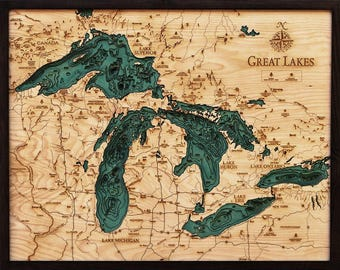 Great Lakes Wood Carved Topographical Depth Map
