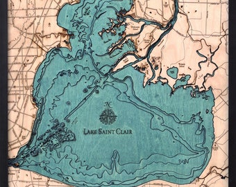 Lake St. Clair Wood Carved Topographic Depth Map