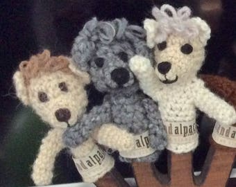 100% Island Alpaca, Hand-Crocheted Alpaca Toy Finger Puppets, Adorable, Wholesome, and Locally Grown and Crafted. Great Gift for Birthday.