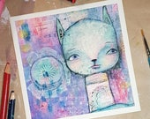 Of the Clouds, greeting card, mixed media art painting