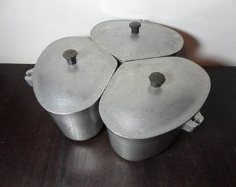 Vintage Heavy Duty Super Maid Aluminum Canister Set or Cookware - Set of 3