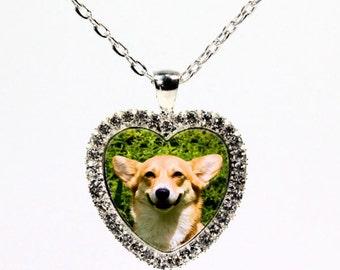 Silver Plated Custom Rhinestone Pet Memorial Jewelry - Photo Portrait Necklace  - Keepsake Necklace - Heart Photo Pendant Necklace