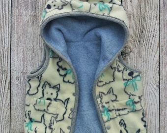 Girl Fleece Vest, Baby Girl Winter Clothes, Infant Girl Fleece Vest, Baby Girl Hooded Vest, Baby Girl Gift