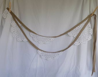 CLEARANCE- Lace Bunting with burlap-look ribbon- white