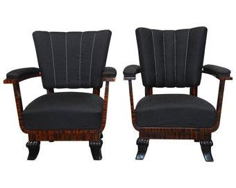Pair of French Art Deco Macassar Club Chairs
