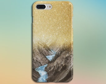 Gold Glitter Sky x Colorado Mountain River Phone Case, iPhone X, iPhone 8 Plus, Rubber Phone Case, Galaxy s8 Samsung, Nature, CASE ESCAPE