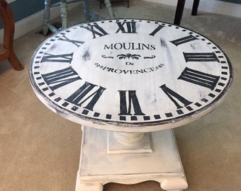 Vintage Shabby Chic Round Clock Table | End Table | Side Table