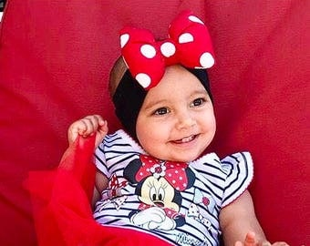 Minnie Mouse Inspired Big Red Polkadot Pillow Bow Headband