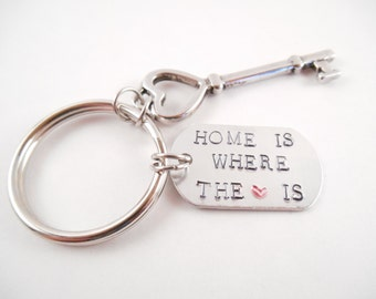 """Home Key Chain - """"Home Is Where The Heart Is"""" Metal Stamped Aluminum Dog Tag Key Chain"""