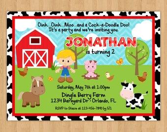 Farm Boy Birthday Invitation