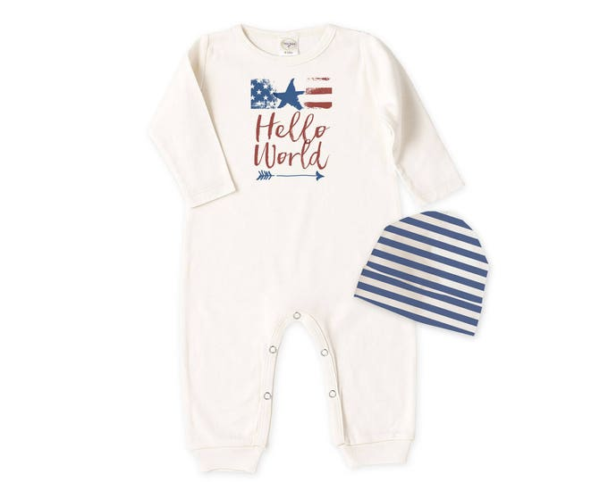 Baby Boy Fourth of July Outfit, Newborn Boy Coming Home Outfit, Baby Boy Bodysuit and Hat Gift, Hello World, Tesababe RC81IY63BI