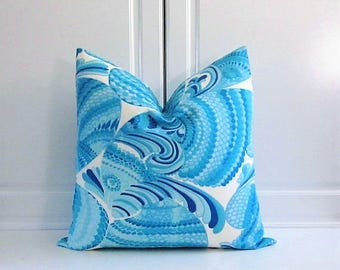 Trina Turk Decorative Pillow Cover- Pisces Turquoise Blue-Indoor/Outdoor- 16x16x18x18,20x20
