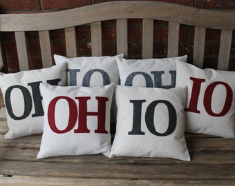 """Set of 2 """"OH"""" and """"IO"""" Full Pillows, Mix and Match, 12"""", You Choose Colors"""