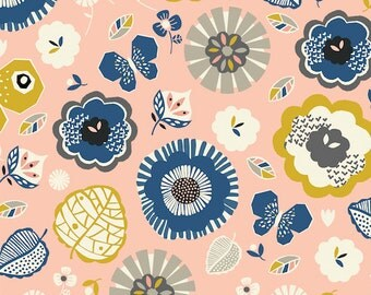 Floral - September Blue - Dashwood Studio Cotton Fabric Fat Quarter