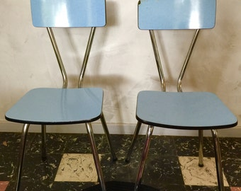 Pair of vintage 1960 blue formica Chair