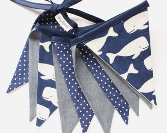 Baby Whale Bunting Flag // Nautical Fabric Pennant // Whale Baby Banner // Blue Nursery Bunting // Polka Dots Navy Blue Flags // 5ft. Flags