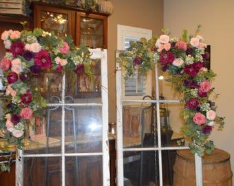Wedding Arch, Wedding Archway Swag, Wedding Ceremony Swag, Wedding Arch flowers, Peony Rose Arch, Burgundy Arch, Photo Backdrop Swag