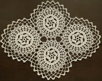 Diamond shape beige crocheted handmade doily