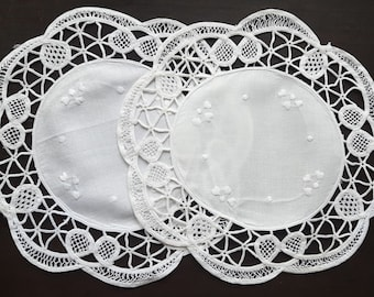 Vintage white  round doilies set of two