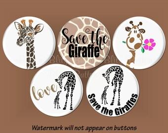 Giraffe Pinback Buttons, April the Giraffe Party Favors, Save The Giraffe Pins, Endangered Species Awareness Buttons, Magnet Option - B1460