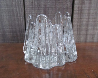 Nybro Sweden Volcano Ice Glass Tea Light Votive
