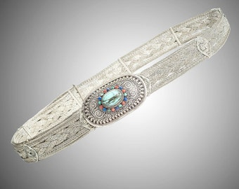 Turquoise coral & lapis set woven silver adjustable belt from Tibet or Nepal